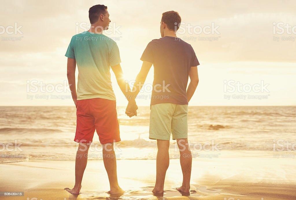 Gay couple watching sunset stock photo