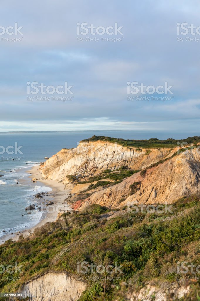 Gay Head cliffs of clay at the westernmost point of Martha's Vineyard in Aquinnah stock photo
