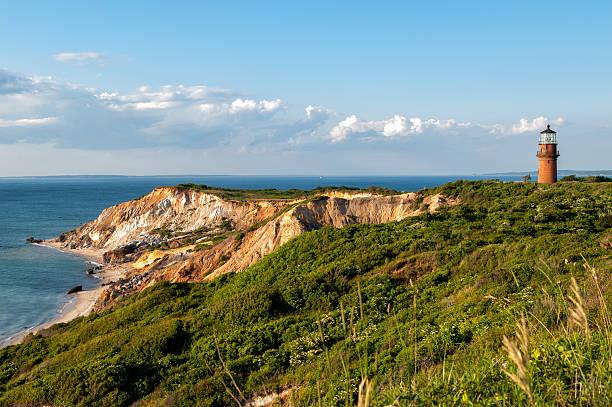 Gay Head Light and Aquinnah Cliffs at Martha's Vineyard stock photo