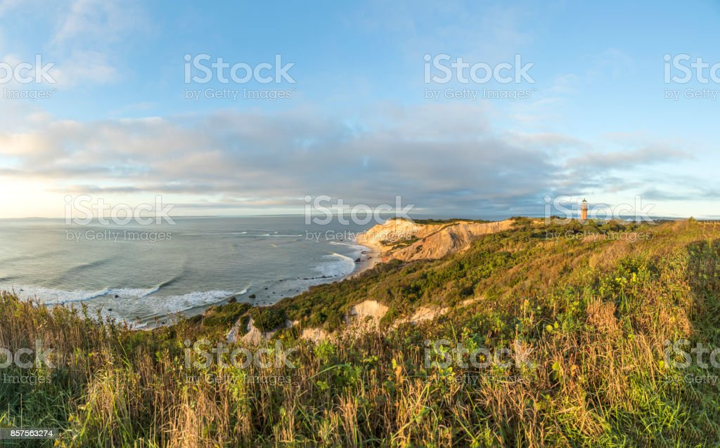 Gay Head Lighthouse and Gay Head cliffs of clay at the westernmost point of Martha's Vineyard in Aquinnah stock photo