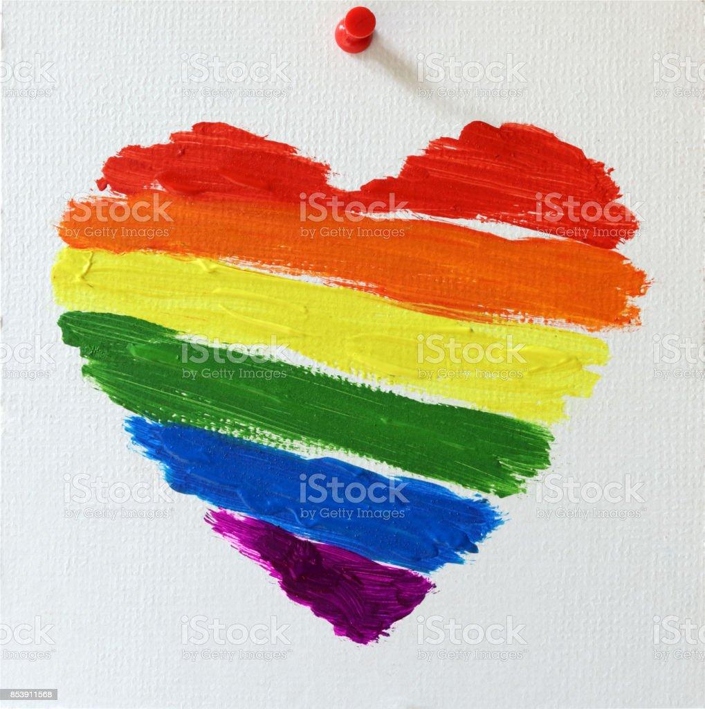 Gay LGBT-Flagge Regenbogen Herz gemalt – Foto