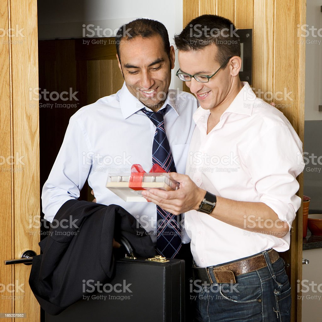 gay lifestyle: a thoughtful gift stock photo