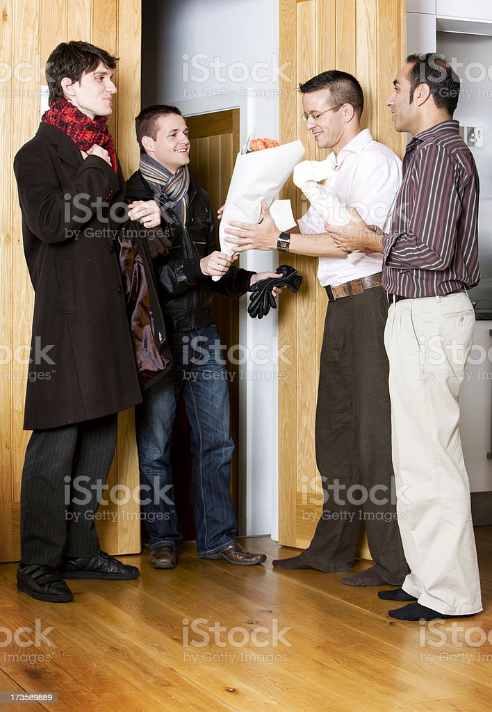 gay lifestyle: arriving guests royalty-free stock photo