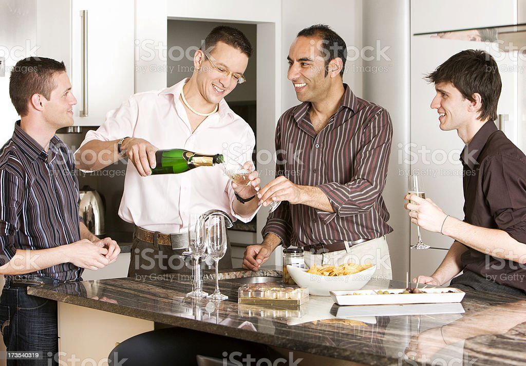 gay lifestyle: champagne fun royalty-free stock photo