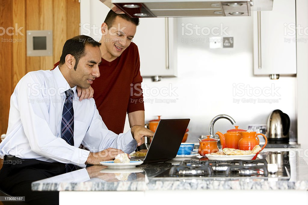 gay lifestyle: working breakfast royalty-free stock photo