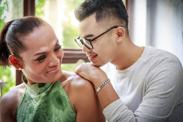 Gay Love Couple Gay Love Couple With Happy Face transgender stock pictures, royalty-free photos & images