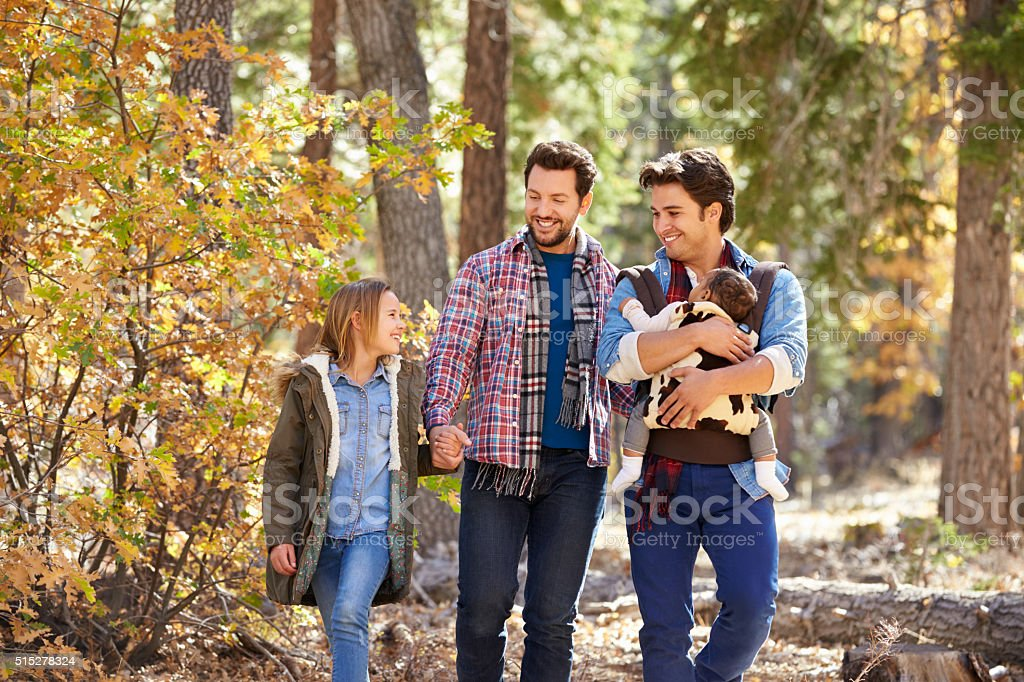 Gay Male Couple With Children Walking Through Fall Woodland stock photo