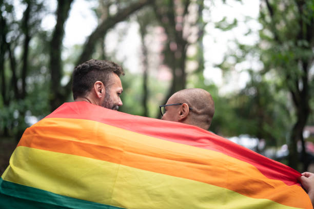 Gay Married Couple Enjoying a Day at Park stock photo