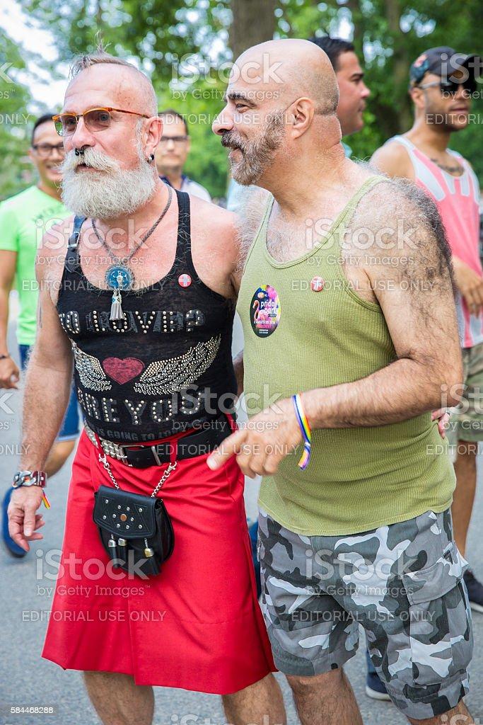 gay men couple Pink Saturday 2016 Gay EuroPride Amsterdam stock photo