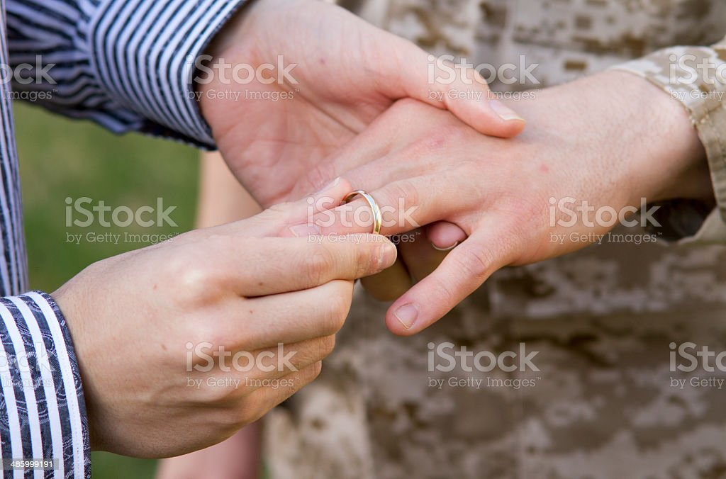 Gay Military Wedding Ring on Finger CU royalty-free stock photo