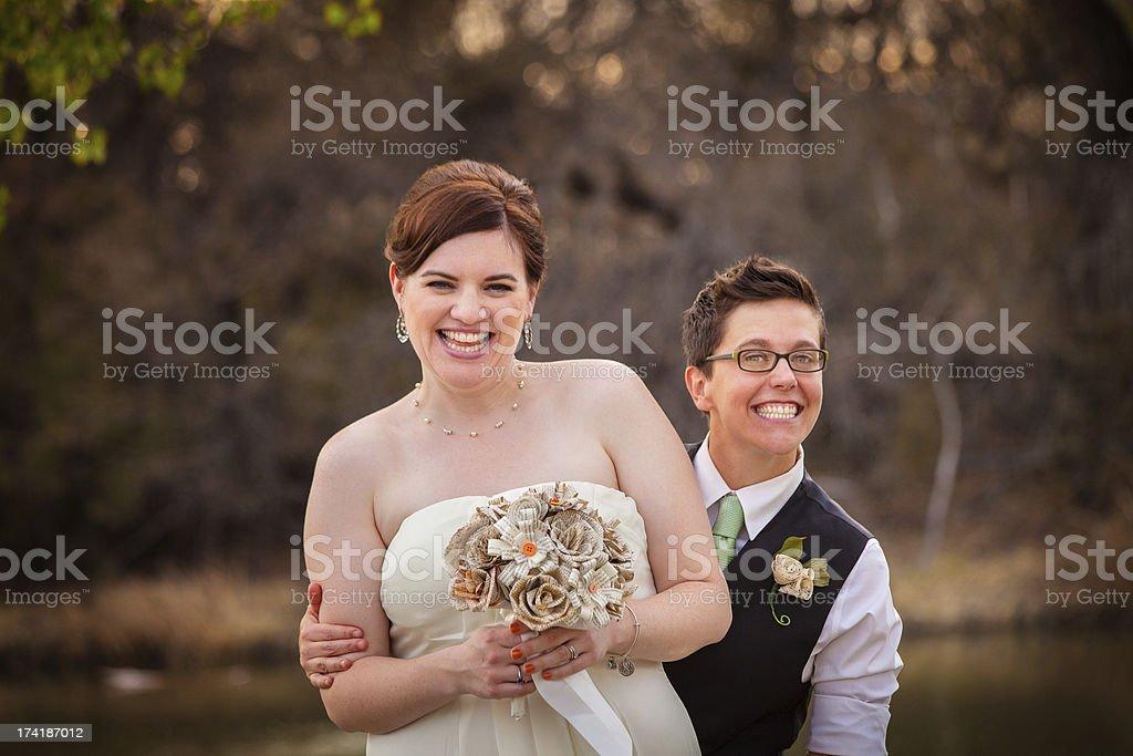 Gay Newlyweds Laughing stock photo