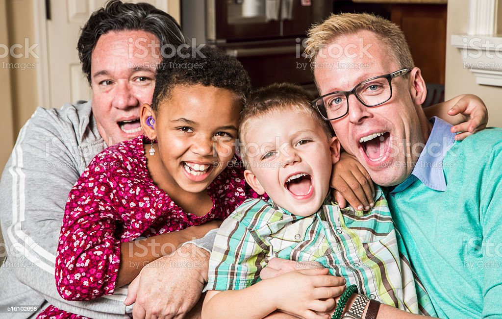 Gay Parents With Chidren stock photo