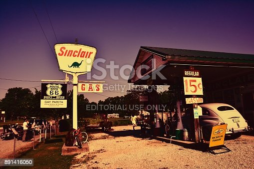 PARIS SPRINGS, USA - JULY 19, 2017: Gay Parita Sinclair gas station, a Route 66 legend. Owner: Gary Turner. This is a recreation of a circa 1930 gas station.