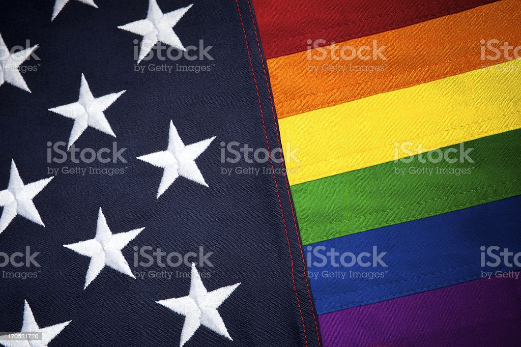 Gay Pride American Flag with Stars and Rainbow Stripes stock photo