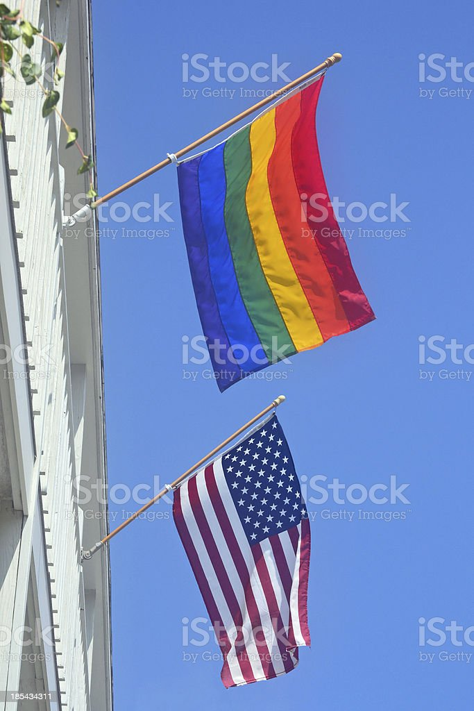 Gay Pride and American Flag royalty-free stock photo