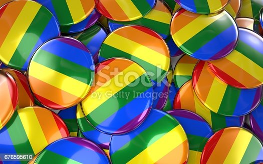 istock Gay Pride Badges Background - Pile of Rainbow Flag Buttons. 676595610