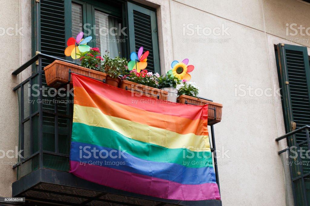 Gay pride balcony stock photo