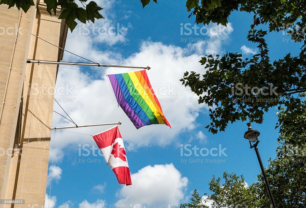 Gay Pride Flag in Trafalgar Square, London stock photo