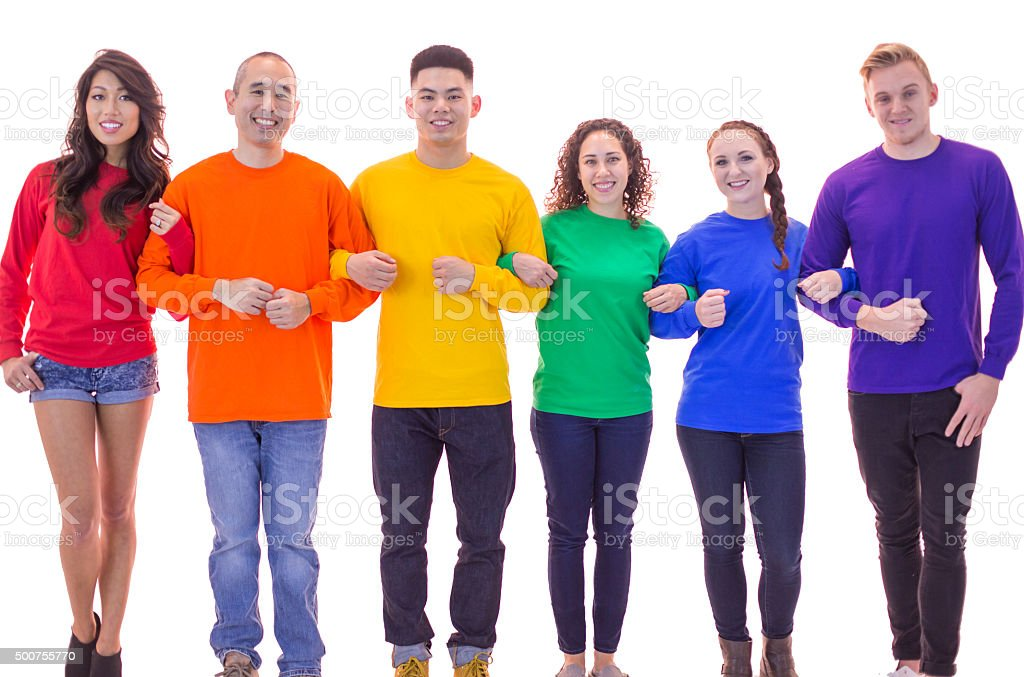 Gay pride group standing in unity with arms linked stock photo