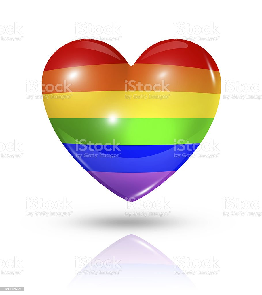 Gay pride love symbol, heart flag icon royalty-free stock photo