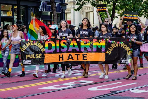 Gay Pride Parade In San Francisco - Man Marches Solo In