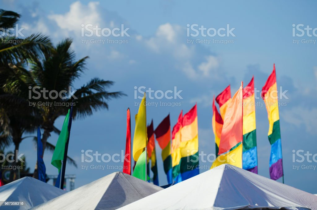 Gay pride rainbow banner flags flying in bright summer sun above...