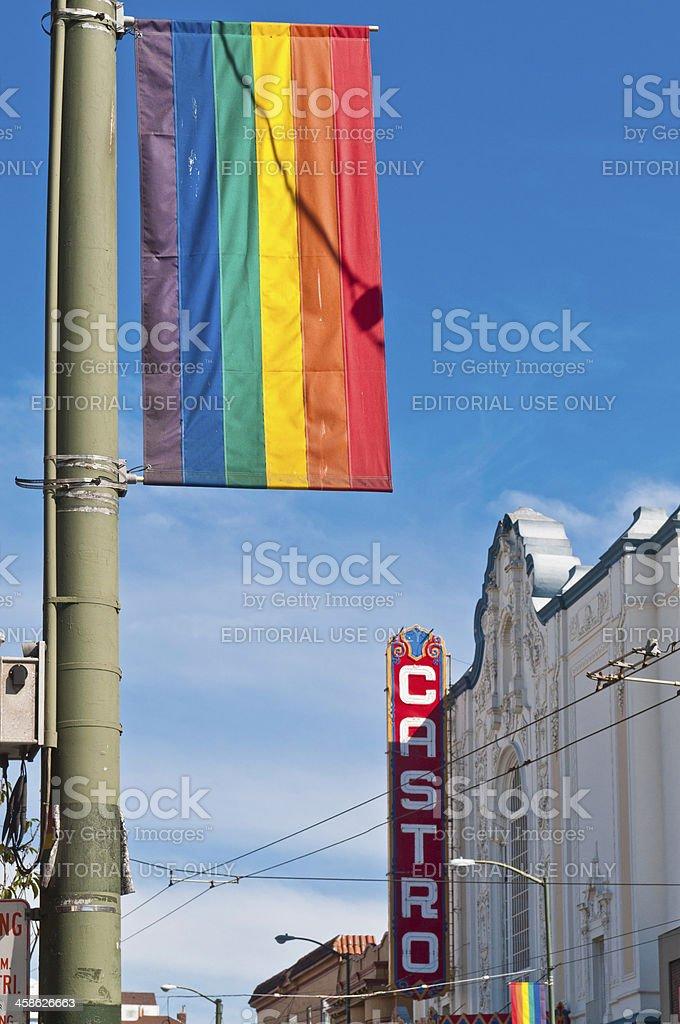 Gay Pride Rainbow Flag Castro Theater San Francisco stock photo