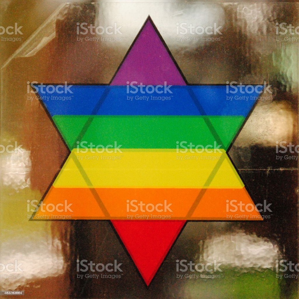 Gay Pride Rainbow Star of David Sticker stock photo