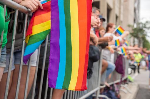 istock Gay rainbow flags at Montreal gay pride parade 595317504