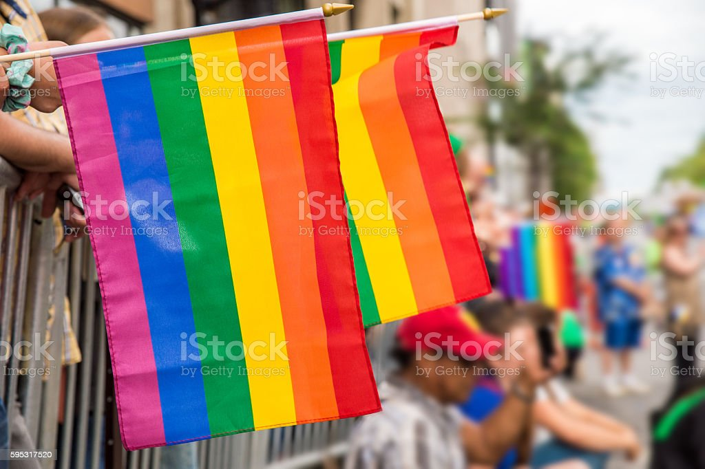 Gay rainbow flags at Montreal gay pride parade stock photo