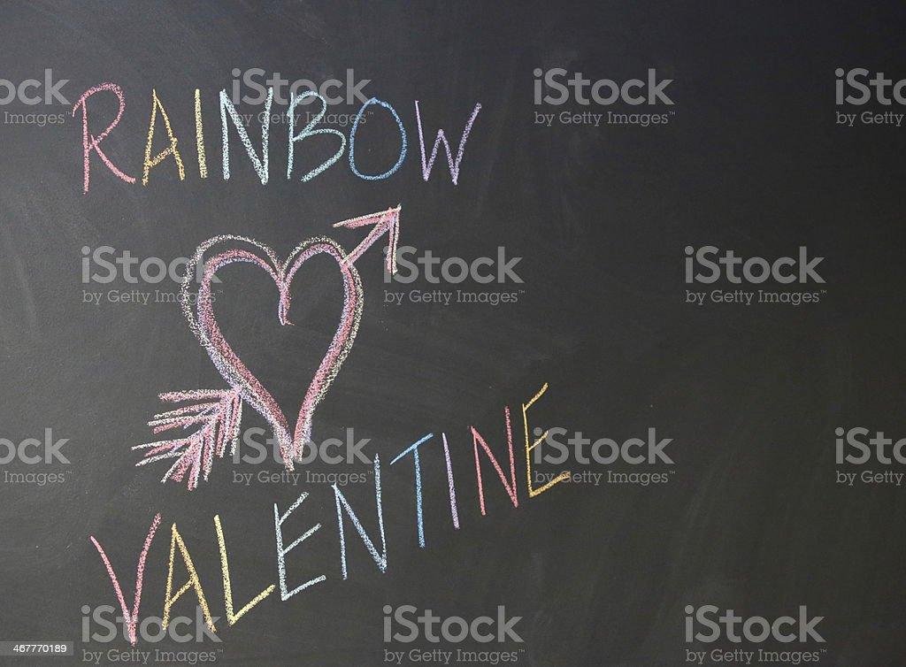 Gay Rainbow Valentine on chalkboard royalty-free stock photo