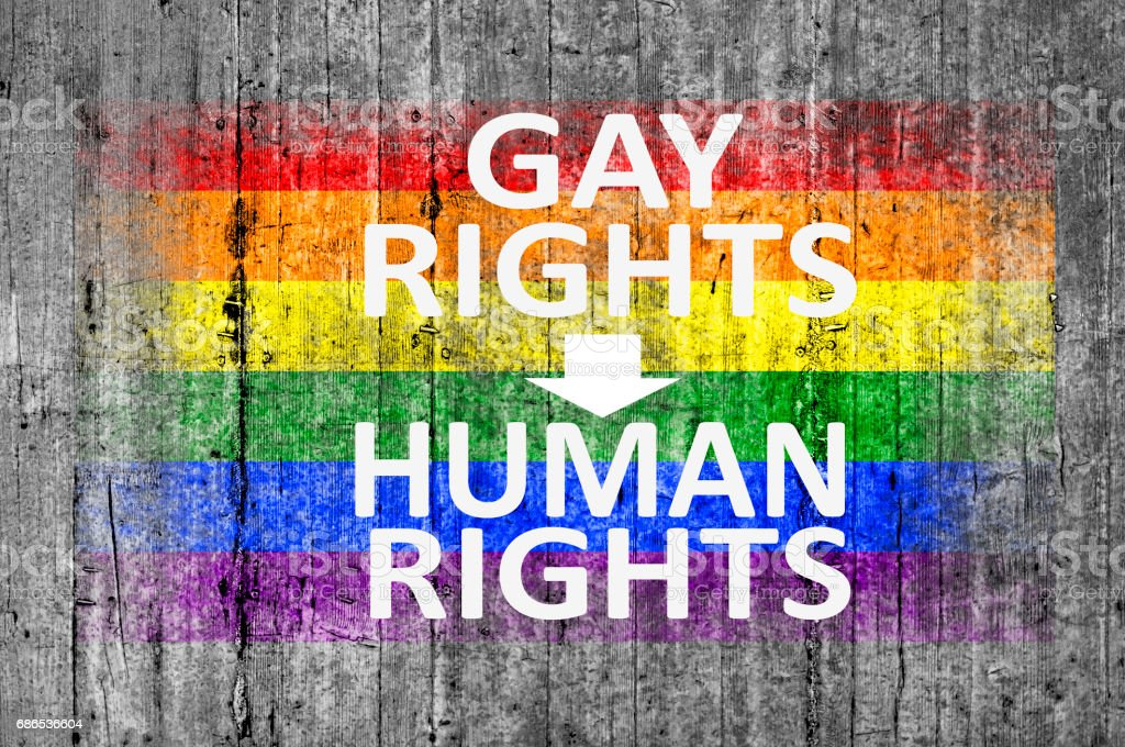Gay Rights Are Human Rights and LGBT flag zbiór zdjęć royalty-free