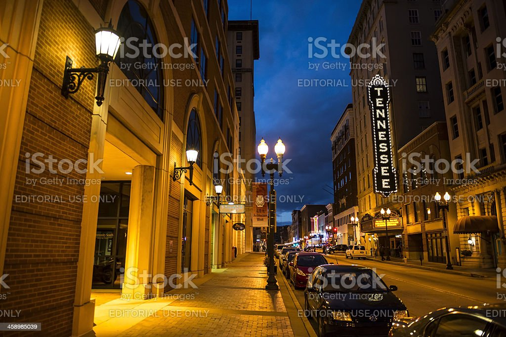 Gay Street and Tennessee Theater in Knoxville royalty-free stock photo