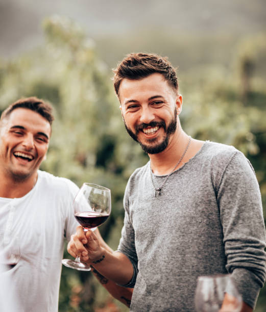 gay toasting together in a wine tasting stock photo