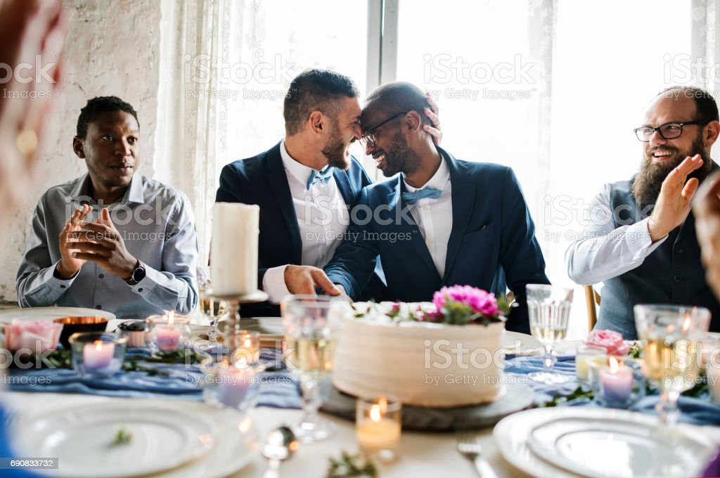 Gay wedding ceremony celebration party stock photo