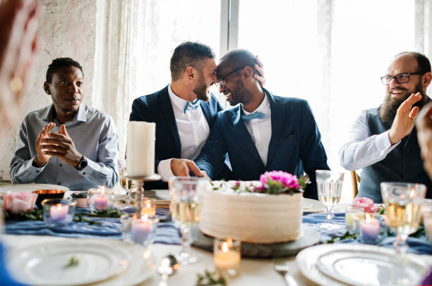 Gay wedding ceremony celebration party Gay wedding ceremony celebration party gay person stock pictures, royalty-free photos & images