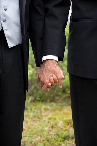 Gay wedding grooms holding hands stock photo