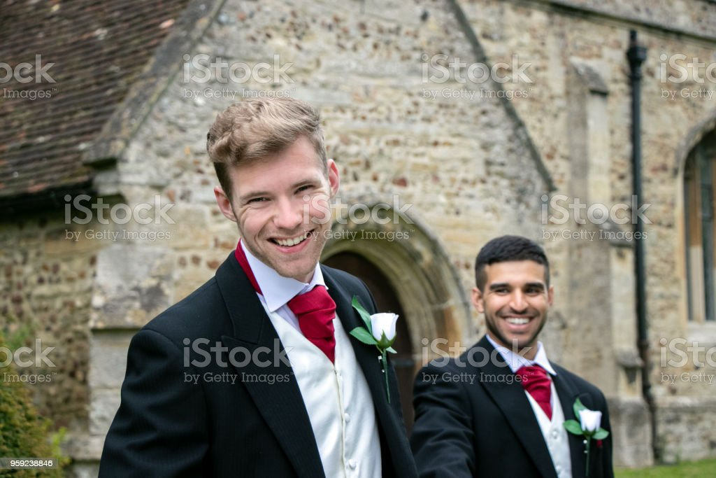 Gay Wedding Grooms Leave Village Church After Being Married With Big