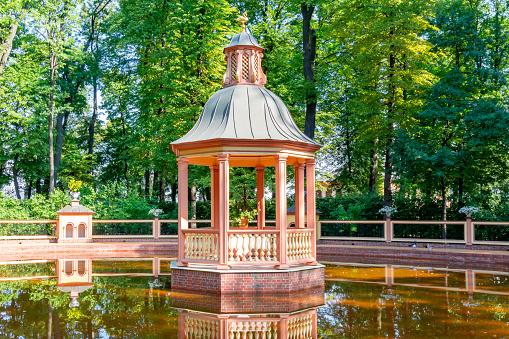 Gazebo and pond in Summer garden, Saint Petersburg, Russia