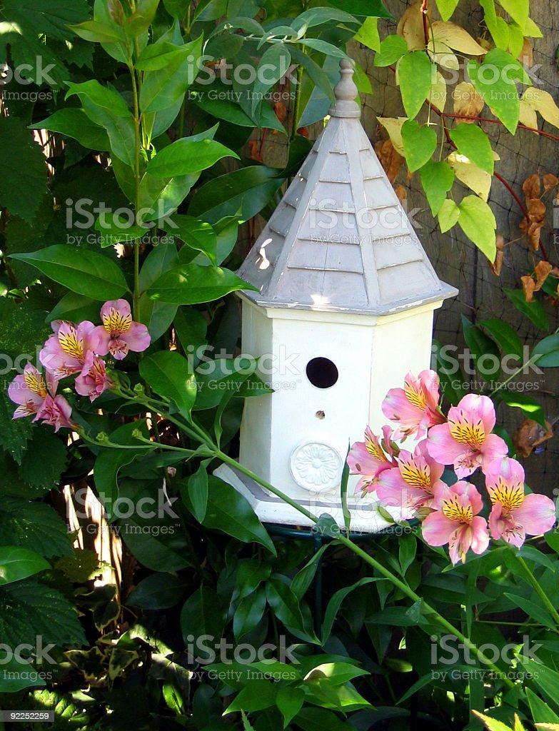 Gazebo Birdhouse in Garden royalty-free stock photo
