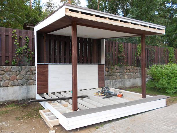 pavillon-konstruktion - terrassen deck design stock-fotos und bilder