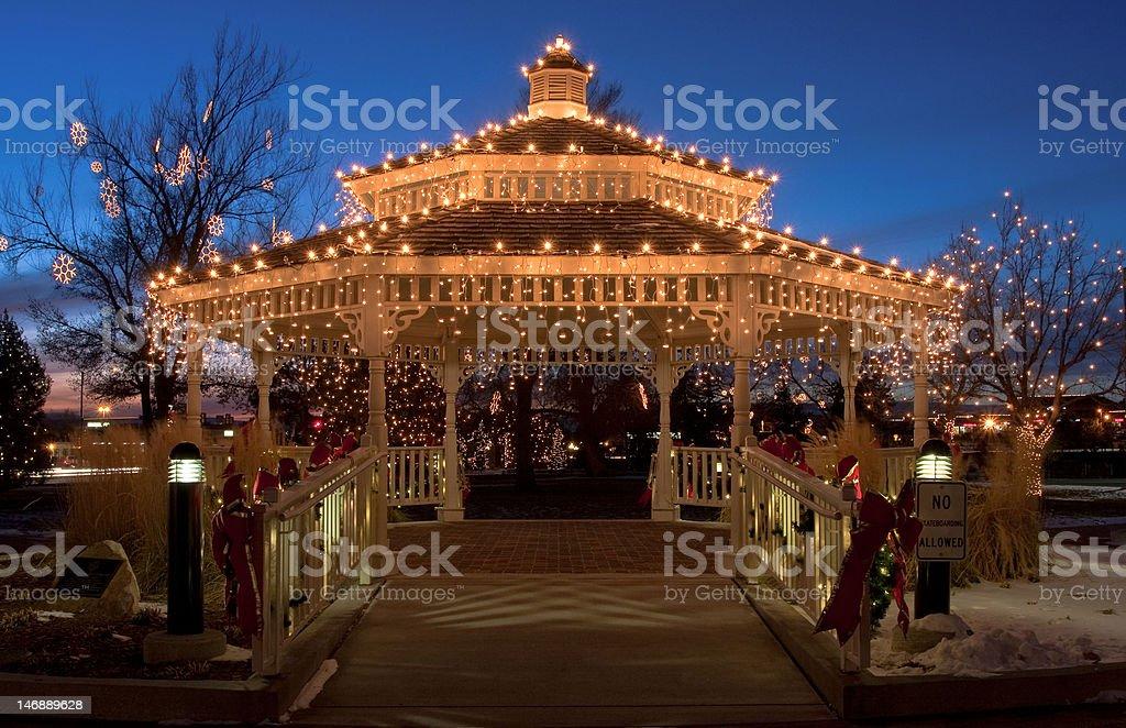 Gazebo in Holiday Lights stock photo