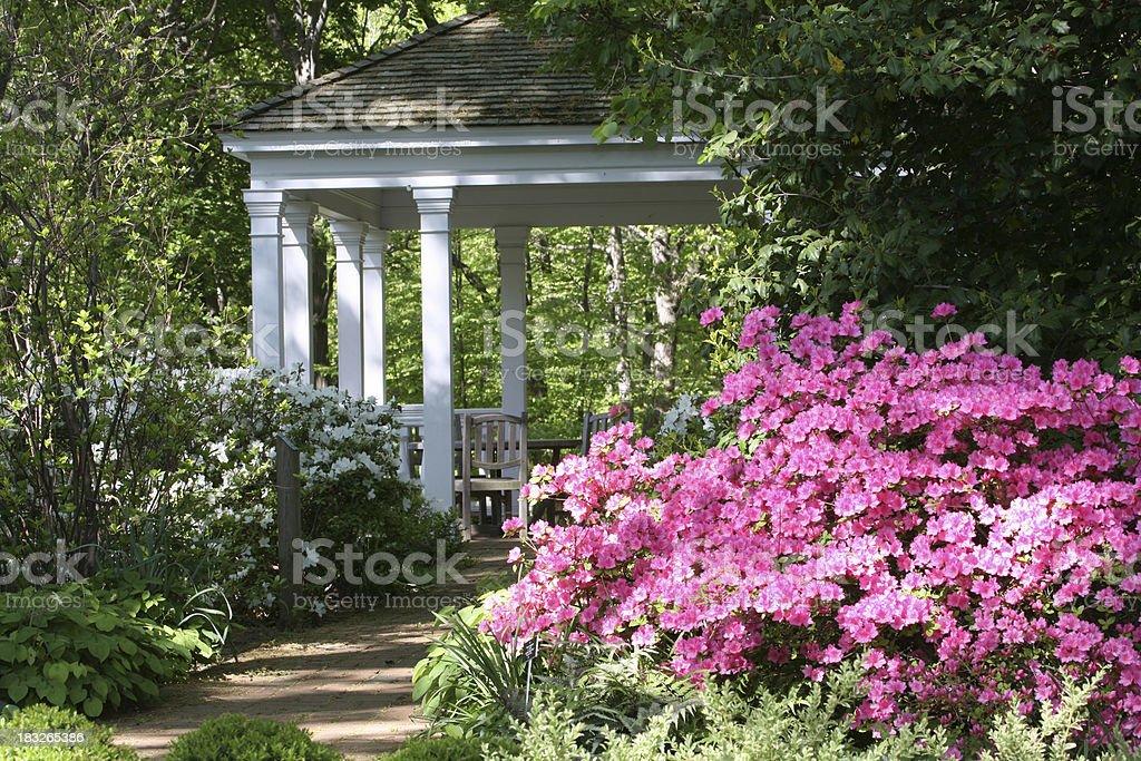 gazebo in springtime stock photo