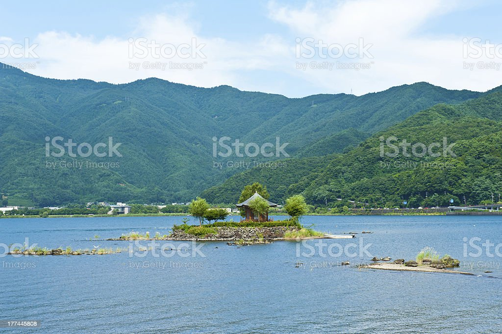 Gazebo in the lake royalty-free stock photo