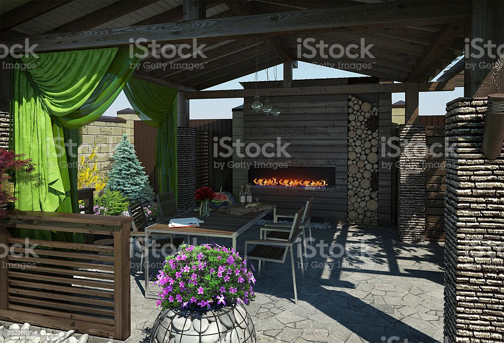 Gazebo inviting interior, 3D render stock photo