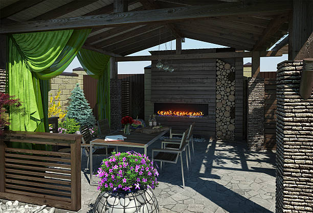 Gazebo inviting interior, 3D render Relaxing and peaceful mixing the outdoors with the indoors. Textured and shadered visualization scene. pavilion stock pictures, royalty-free photos & images