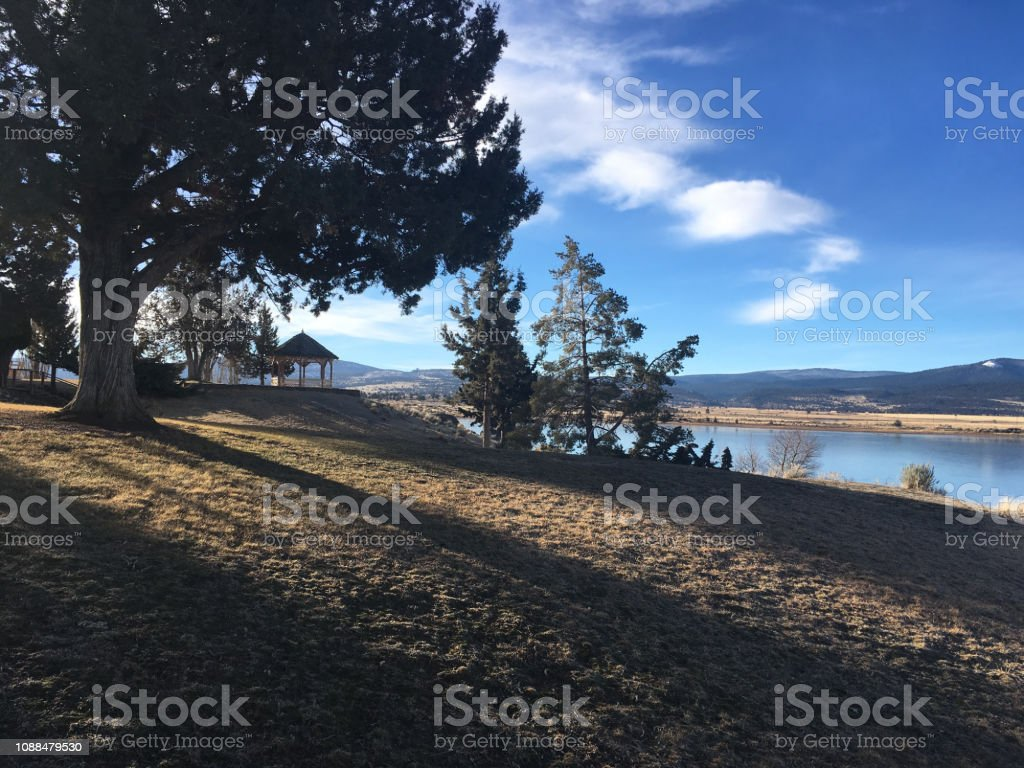 Gazebo Lake stock photo