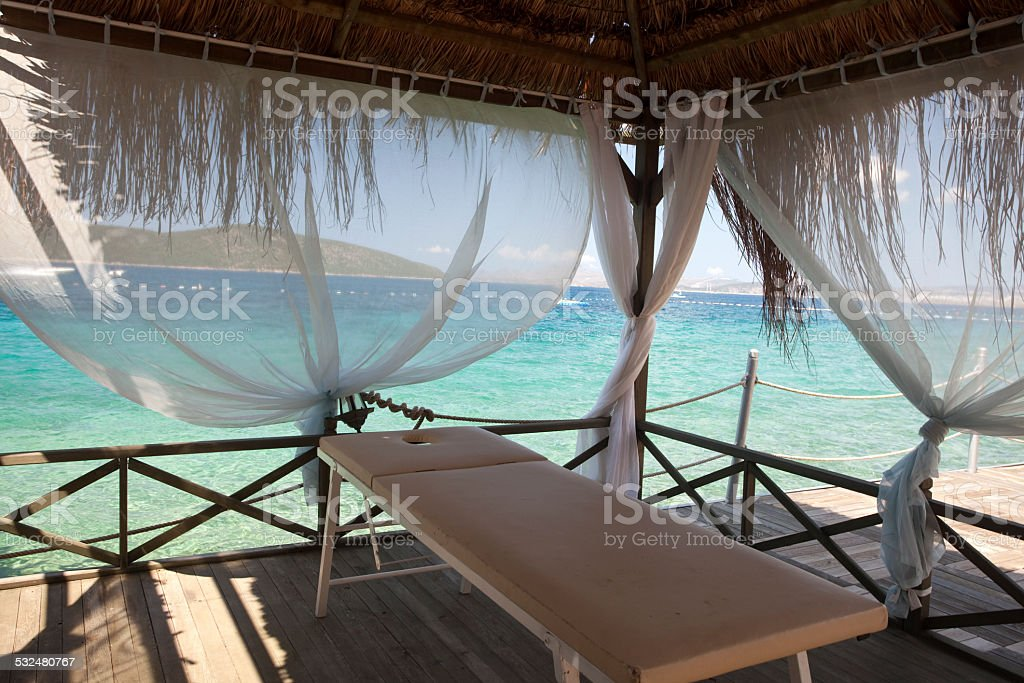 gazebo massage stock photo