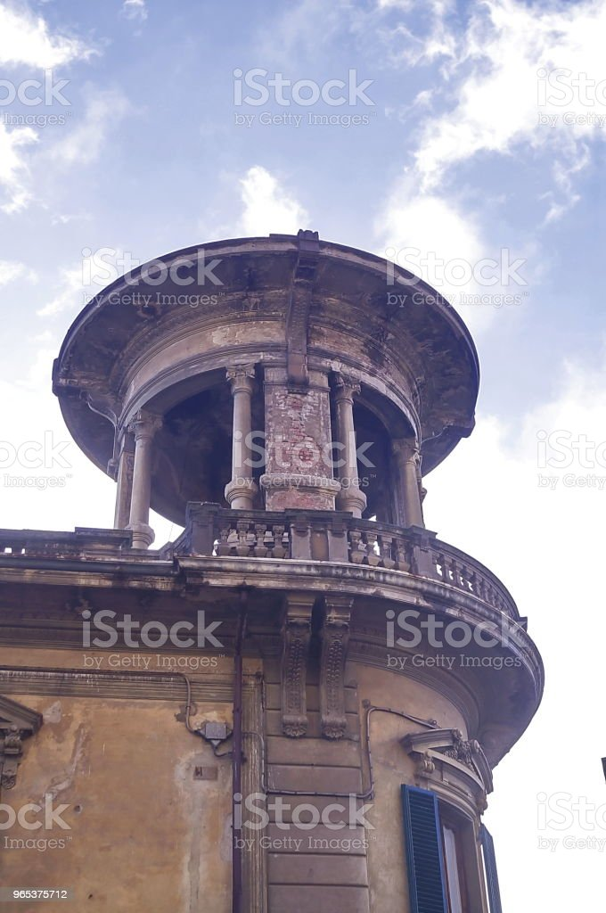 Gazebo on the roof of a building in IV november square,  Montevarchi royalty-free stock photo