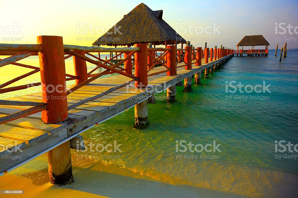 Gazebo / palapa - idyllic shore sunset - Cancun, Mexican caribbean stock photo